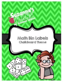 Chalkboard Math Bin Labels