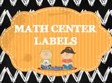 Chalkboard Math Center Labels