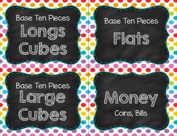 Chalkboard Math Tub Labels