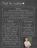 Chalkboard Meet The Teacher Template **Editable**
