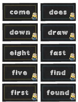 Chalkboard Minion Word Wall Words