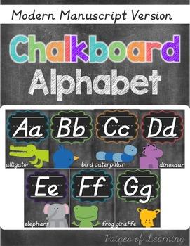 Chalkboard Modern Manuscript Alphabet Posters