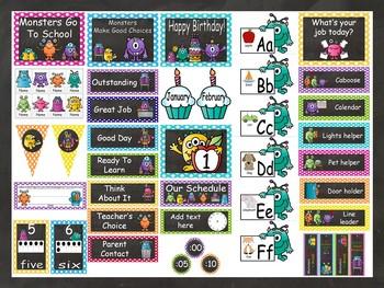 Chalkboard & Monsters Calendar Set  EDITABLE