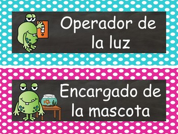 Chalkboard & Monsters Calendar Set  {Spanish Version} EDITABLE
