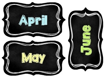 Chalkboard Month Headers