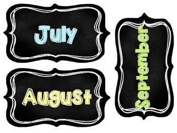 Chalkboard Month Headers
