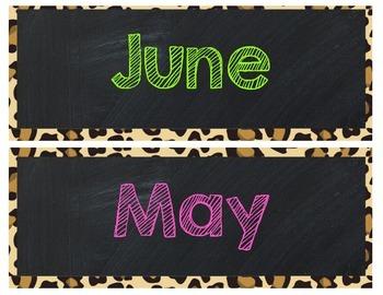 Chalkboard Months with Leopard Print FREEBIE