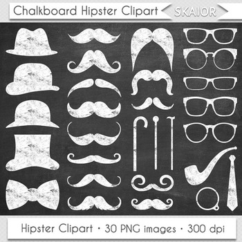 Chalkboard Moustache Clipart Gentleman Clip Art White Hipster Hat Tie Glasses
