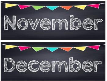 Chalkboard Multi Colored Banner Calendar Set
