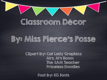 Chalkboard Multi Colored Banner Classroom Decor Bundle