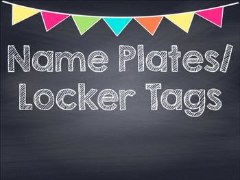 Chalkboard Multi Colored Banner Name Plates-Locker Tags
