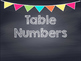 Chalkboard Multi Colored Banner Table Numbers