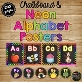 Alphabet Letter Posters and Word Wall Labels, Chalkboard & NEON