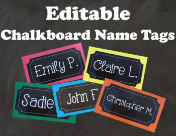 Chalkboard Name Tags Editable
