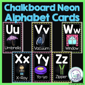 Chalkboard Neon Alphabet Cards
