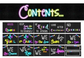 Chalkboard & Neon Bundle Class Set  {year2tastic}