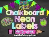 Chalkboard Neon Classroom Labels