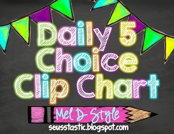 Chalkboard & Neon Daily 5 Choice Chart (Freebie)