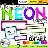 EDITABLE Classroom Chalkboard Neon Labels