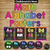 MATH ALPHABET Posters and Word Wall Labels, Chalkboard & Neon