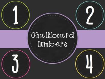Chalkboard Neon Numbers