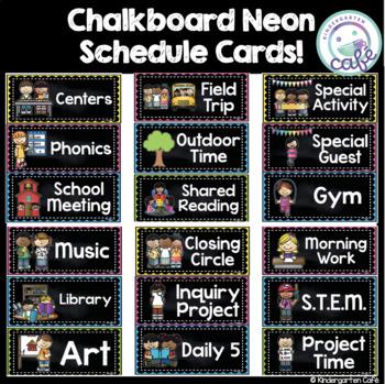 Chalkboard Neon Schedule Cards!