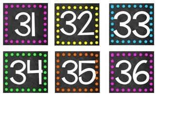 Chalkboard & Neon Student Numbers