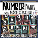 Maori (& Maori/English) Chalkboard Number 0-20 Posters for New Zealand Classroom