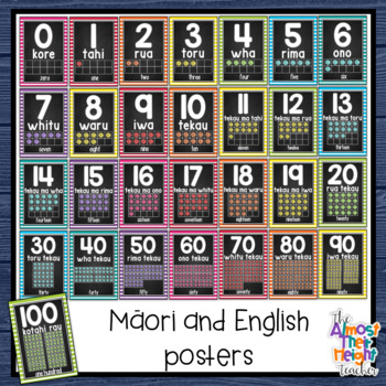 New Zealand Maori (with Maori/English) Chalkboard Number 0-20 Posters