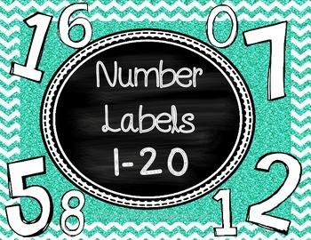 Chalkboard Number Labels 1-20 Large