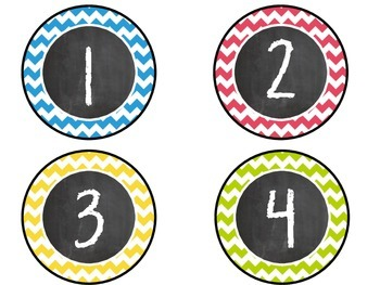 Chalkboard Number Labels