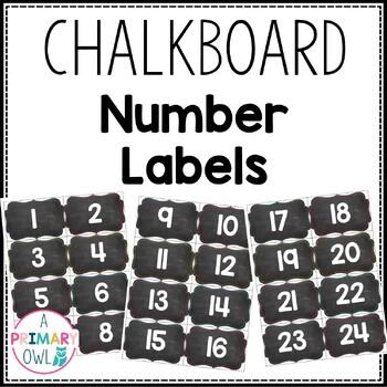 Chalkboard Number Labels