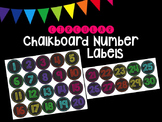Chalkboard Number Labels in Neon Colors (Circular)