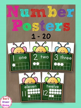 Number Posters: 1-20 (Chalkboard)