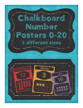 Chalkboard Number Posters- 3 sizes