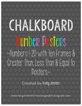 Chalkboard Number Posters ~Numbers 1-20 with Ten Frames and  & = to Posters