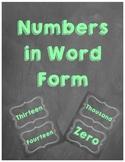 Chalkboard Number Words