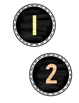 Chalkboard Numbers 1-24 Labels