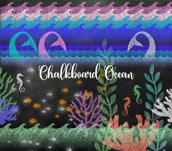 Chalkboard Ocean Nautical Clipart - mermaid tails, fish, waves, coral, seahorses