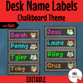 Chalkboard Owl Themed Desk Name Plates | Labels **Editable**