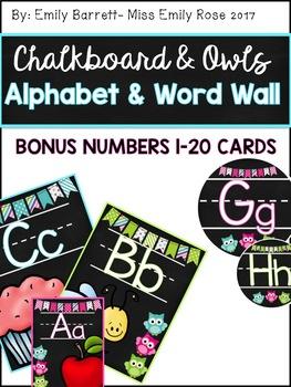 Chalkboard Owls Alphabet and Word Wall