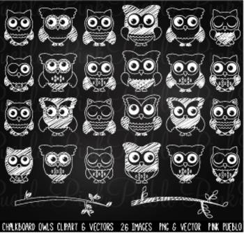Chalkboard Owls Clipart Clip Art