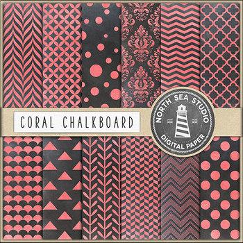 Chalkboard Paper Pack, Coral Chalk Patterns