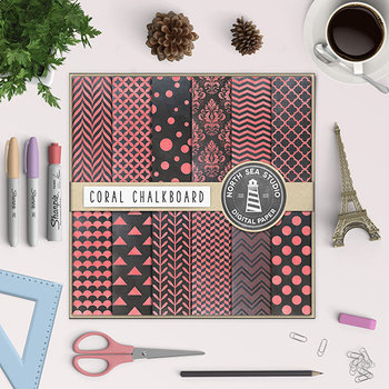 Chalkboard Background, Chalkboard Paper Pack, Coral Chalk Patterns