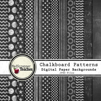 Chalkboard Patterns Digital Paper Backgrounds