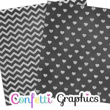 Chalkboard Patterns Digital Paper Chalk Board Background Chevron Polka Dot Star