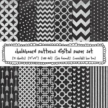 Chalkboard Patterns Digital Paper, Chevron, Stripes, Polka Dots, Hearts