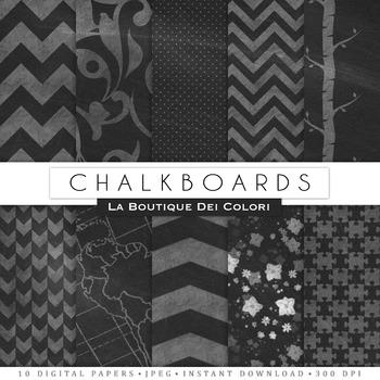 Chalkboard Patterns Digital Paper, scrapbook backgrounds.