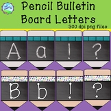 Chalkboard Pencil Bulletin Board Letters - teal wood and p