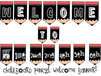 Chalkboard Pencil Welcome Banner